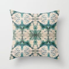 Throw Pillow made from 100% spun polyester poplin fabric, a stylish statement that will liven up any room. Individually cut and sewn by hand, each pillow features a double-sided print and is finished with a concealed zipper for ease of care.  Sold with or without faux down pillow insert. Original fluid acrylic abstract painting with shades of blue, green, teal, and white turned into a pattern.