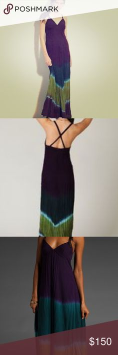 """FP Sheila Tie-Dye Maxi This V-neck dress features seamed cups and adjustable spaghetti straps that cross at the back. Approx. 54"""" long from shoulder to hem. 100% Rayon. Wrinkled woven fabrication. Dry clean only. Free People Dresses Maxi"""