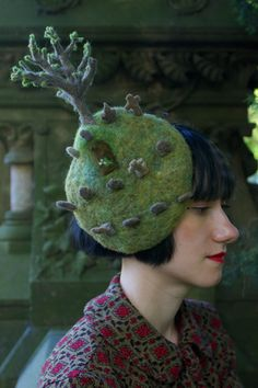 Needle felted GRAVEYARD HAT by RaeStimson on Etsy