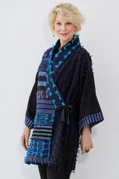 Kimono Jacket by Patricia Palson and Molly Penner - Blues, One Size (Woven Jacket) Fashion Over Fifty, Over 50 Womens Fashion, Kinds Of Clothes, Clothes For Women, Cool Outfits, Fashion Outfits, Amazing Outfits, Kimono Jacket, Kimono Style