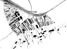 figure-ground study drawing for the vitra firestation by zaha hadid