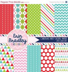 50 OFF SALE Instant Download Christmas Party by ErinBradleyDesigns