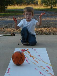 Childhood Beckons: Chuckin' Pumpkin Painting-- B will love to do this with @Callie Myers and @Tristen Johnston!!!