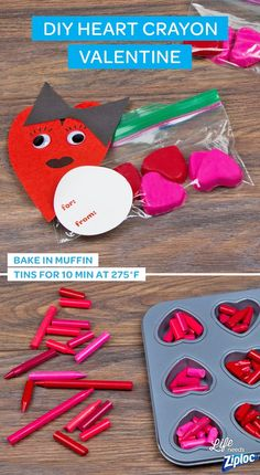 This easy Valentine's Day craft makes the perfect present to give your child or makes a great gift for them to hand out to their classmates. Just store the heart crayons in a Ziploc® snack bag and attach a handmade Valentine's Day card. It's the perfect non- food gift for schools with allergy restrictions. It's also a kid-friendly craft that's easy to personalize by mixing colors for a tie-dye effect! And keep it green and eco-friendly by upcycling broken or stray crayons.