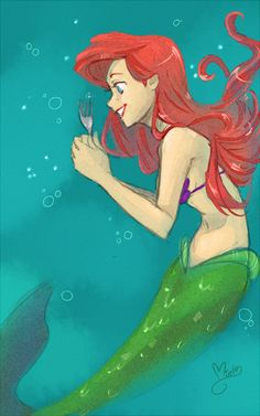 Trying a watercolor technique in paintool sai The little mermaid ariel (c) Disney A DINGLEHOPPER holy frick Ariel Disney, Disney Dream, All Disney Princesses, Disney Little Mermaids, Ariel The Little Mermaid, Cute Disney, Disney Magic, Mermaid Disney, Disney Fan Art
