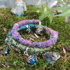 """""""Oceanic Jewels"""" Silk-Wrapped Bracelet — Star Magnolias Silk Wrap Bracelets, Cool Tones, Abalone Shell, Stone Carving, Vintage Sewing, Wearable Art, Seed Beads, Jasper, Felted Jewelry"""