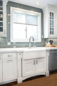 Grey Glass Subway tile kitchen backsplash..with a farmhouse sink! But change the cabinets to grey or blue by adrian