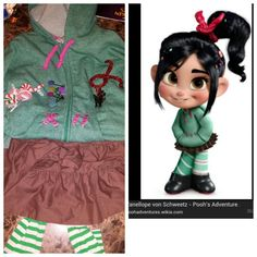 DIY Vanelope Von Schweetz:  Dyed light beige ruffle skirt (walmart-$5.00) dark brown. Halloween costume tights. Black sneakers or ugg boots. Sweatshirt (Old navy-$10.00). Had pigtail shoelaces (walmart-$2.00). Scented candy shoelaces for stitching on sweatshirt ($1 store). Fake candy/glittery beads/6 twisted red metallic pipe cleaners/bobbi-pins-glue gun (hobby lobby).  It took me about 20 minutes to put everything together.  Daughter wakes next morning to finished costume-PRICELESS!!!