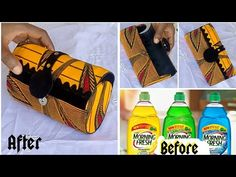 DIY Ankara clutch purse from plastic bottle// no sew - YouTube Diy Clutch, Diy Purse, Clutch Purse, African Accessories, Bag Accessories, Diy Ankara Bags, Sewing Hacks, Sewing Tutorials, Plastic Bottles