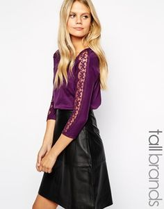 New Look Tall Lace Sleeve T-Shirt