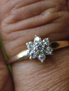 Vintage Diamond Cluster Ring 10K Gold by My3LadiesJewelry on Etsy, $124.95