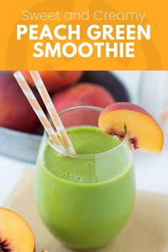 The tastiest green peach smoothie you'll ever have! Peaches, banana, almond milk and spinach to make it bright green and super healthy. Your kids will love this! Whole Foods Smoothies, Smoothies For Kids, Yummy Smoothies, Smoothie Recipes, Super Healthy Kids, Good Healthy Snacks, Healthy Meals For Kids, Healthy Drinks, Peach And Green