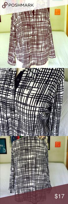 Ava & Viv Crosshatch Blouse Stunnnning black and white crosshatch blouse. NWOT. Ava & Viv Tops Blouses