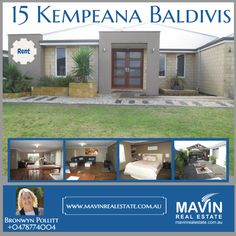 """""""Property For Rent: 15 #KempeanaBaldivis""""- Double doors greet you as you enter this large established home with 4 double bedrooms. With spacious rooms and dining area, you even have a place for a theater and a study. All bedrooms come with robes and the master bedroom comes with a walk through robe. Pets are welcome here as this house is pet-friendly. To know more about this property click here: www.mavinrealestate.com.au Or Contact Bronwyn Pollitt at 0478774004"""