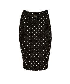 High Waist Belted Pencil SkirtHigh Waist Belted Pencil Skirt, Black/White