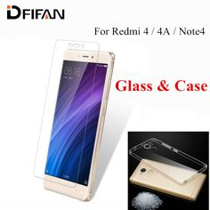 Case + glas tpu telefoon case voor xiaomi redmi 4 pro 4 prime 4A Note 4 Gehard Glas Hongmi Redmi4 Redmi4A note4 Screen Protector