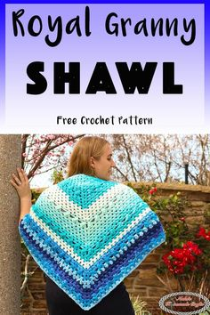 This Simple Royal Granny Shawl is a free crochet pattern that is not only stunning but incredible soft, light and comfortable. Perfect for a nice evening out or as a special accessory to make you feel beautiful. It also makes a great gift. This pattern uses 2 different Caron Cakes. #crochet #freecrochetpattern #crochetpattern #shawl #grannyshawl #simpleshawl #royalshawl #blue #bluecrochet #blueshawl #caroncake #scarf #triangleshawl #trianglescarf