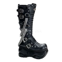 """4"""" platform knee cyber boots black pu with buckles Size Run: Men's Size 5-12"""