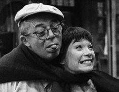 Billy Wilder and Shirley Maclaine clowning on the set of The Apartment: