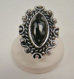 925 STERLING SILVER LARGE BLACK & WHITE NATURAL GEMSTONE OPAQUE SZ 8.5 RING 16g #Solitaire