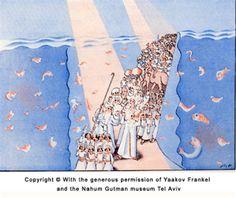 Passover Haggadah: Crossing the red sea - 1930
