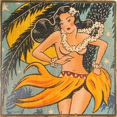 Vintage Hawaii by Trevor Carlton Pop Art Vintage, Vintage Tiki, Vintage Images, Vintage Posters, Retro Images, Hawaiian Art, Vintage Hawaiian, Aloha Vintage, Kitsch