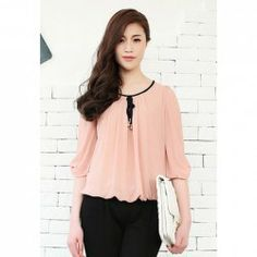 $10.18 Elegant Scoop Neck Bow Puff Sleeve Chiffon Blouse For Women