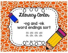 This Literacy Center {FREEBIE} will be great practice for your students after learning both the -ng and -nk word endings sounds.