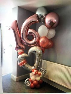 Sweet 16 - #sweet - #balloondecorationdiy Sweet 16 Party Decorations, Sweet 16 Party Favors, 16th Birthday Decorations, Sweet 16 Centerpieces, Sweet 16 Themes, Sweet 16 Parties, Balloon Decorations, Balloon Centerpieces, 16 Balloons