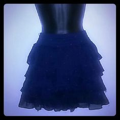 Ruffle Skirt Worn once and navy blue with red polka dots. Gilly Hicks Skirts