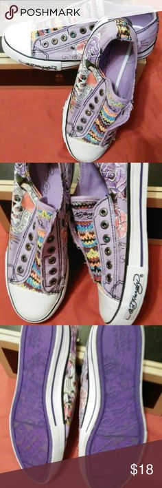 Ed Hardy Sneakers sz. 8 New Ed Hardy sneakers only worn to try on. Purple multi color. Ed Hardy Shoes Sneakers