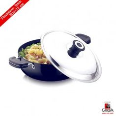 Garuda Hard Anodised Induction Bottom Kadai With Lid 22Cm, 3Mm
