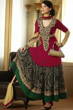 Simply look gorgeous in Pink & Black Colour Faux Georgette Anarkali Suit and steal the show wherever you go!! Buy Now.. http://ethnicstation.com/shop/women/salwaar-kameez/anarkali/pink-black-coloured-faux-georgette-anarkali-suit.html
