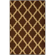 Ottohome Moroccan Trellis Design Chocolate Area Rug