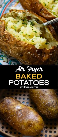 Make the BEST Baked Potatoes ever in the Air Fryer! These potatoes are tender and flakey on the inside with an amazing super crispy skin. Keep them simple with butter, salt, and pepper or load them up with your favorite toppings for a side dish that's outstanding. Air Fryer Dinner Recipes, Air Fry Recipes, Air Fryer Recipes Easy, Cooking Recipes, Potato Recipes, Best Baked Potato, Air Fryer Baked Potato, Baked Potatoes, German Potatoes