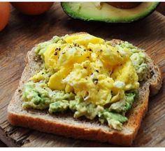Egg and Avocado on wheat toast, YUM!