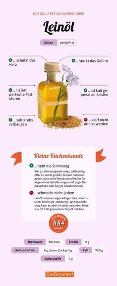 This is how healthy linseed oil is eatsmarter.de # linseed oil This is how healthy linseed oil is eatsmarter. Diet And Nutrition, Healthy Diet Tips, Healthy Life, Broccoli Nutrition, Nutrition Tracker, Menu Dieta, Fat Burning Drinks, Linseed Oil, Food Facts