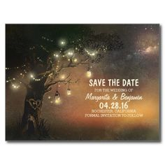 Fireflies mason jar tree rustic save the date post cards