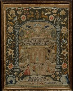 Embroidered Sampler Maker: Mary Munro  (born 1776) Date: 1788 Geography: New England, Providence, Rhode Island, United States Culture: American Medium: Embroidered silk on linen Dimensions: 13 1/2 x 10 1/4 in. (34.3 x 26 cm) Classification: Textiles