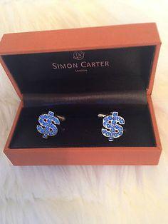 Mens designer #simon carter blue #diamante dollar #cufflinks ,  View more on the LINK: http://www.zeppy.io/product/gb/2/371346718742/