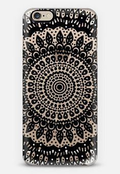 Tribal Boho Mandala in Black // Crystal Clear Phone Case