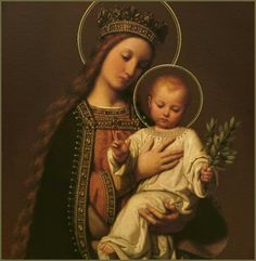 Behold thy Mother and Holy Queen! Virgin and Child by Barnaba Da Modena, the Baby holds his fingers in classic blessing and in His other hand, he holds the olive branch, the sign of peace.