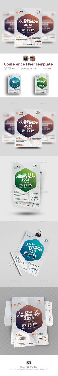 Conference Flyer — #business conference #convention center • Download ➝ https://graphicriver.net/item/conference-flyer/21238481?ref=pxcr
