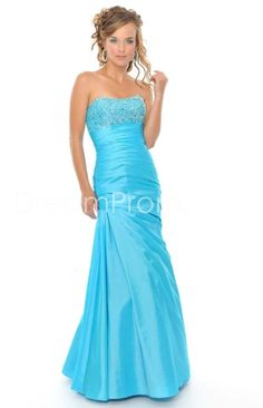 Sexy A-Line Strapless Floor-Length Beading Prom Dresses