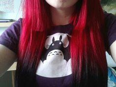 Red hair with black dip dye