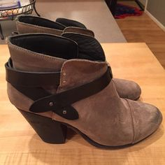 """Rag & Bone Harrow Boot - Taupe Suede Suede ankle boot in taupe suede. Classic style. Runs small so make sure to size up at least a half size. 3.5"""" wood heel. Definitely worn but in good shape. rag & bone Shoes Ankle Boots & Booties"""