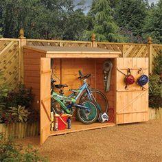 Outdoor Bike Storage Box | Garden Wall Storage Chest / Wooden Bike Storage Unit | eBay