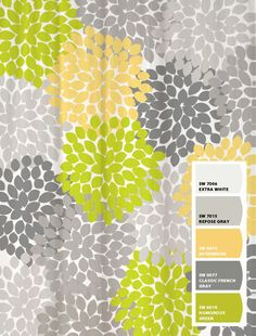 Shower Curtain Yellow Lime Green Inspired Floral