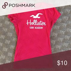 Hollister Surf Academy Tee Hollister fitted stretchy top! Gorgeous Raspberry color! Hollister Tops Tees - Short Sleeve