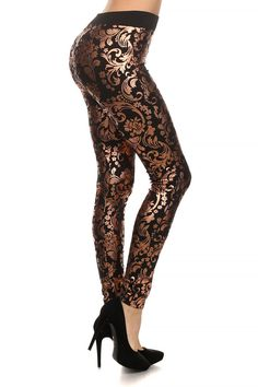 Baroque Fleece Lined Leggings | OnlyLeggings.com